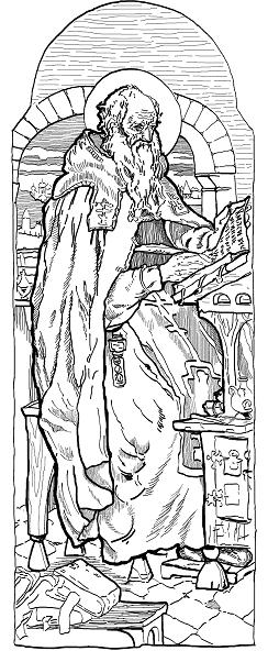 Георгий. Рисунок с иконы, 30-40-е годы XII века. Из Георгиевского собора Юрьева монастыря в Новгороде