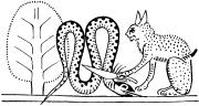 Бог Ра в образе огненно-рыжего кота убивает змея Апопа
