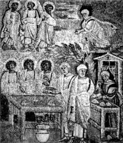 Авраам, Сарра и ангелы. Мозаика. Рим. V в.