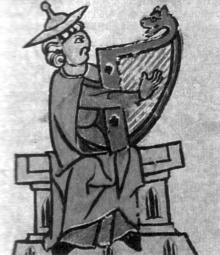 Царь Давид, играющий на арфе. Книжная миниатюра XIV в.