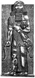 Гильгамеш держит льва