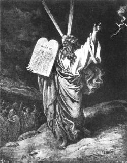 Гюстав Доре. Пророк Моисей сходит с горы Синай. 1864-1866гг.