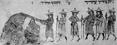 Переход евреев через море. Моисей рассекает море посохом. Средневековая книжная миниатюра