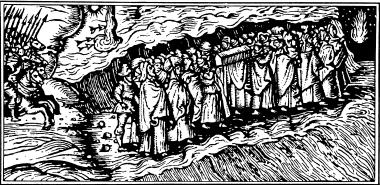 Моисей и евреи переходят через Мертвое море