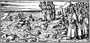 Преследователи евреев - египтяне - тонут в волнах моря. Средневековая гравюра.