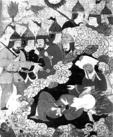 Мухаммад и Абу Бакр в пещере. Миниатюра. Турция XII в.