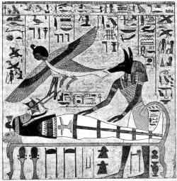Мумия Осириса, приготовленная к погребению Анубисом