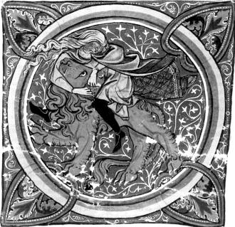 Самсон со львом. Средневековая книжная миниатюра
