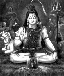 Медитирующий Шива - покровитель тантры и йоги. Севременное изображение.
