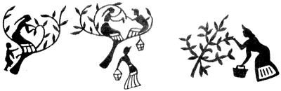 Сбор шелковых коконов. Рисунки на бронзовых сосудах V-III вв. до н.э.