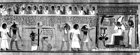 Фрагмент папируса с изображением сцены из Книги мертвых