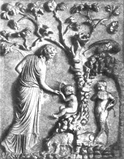 Нимфа Адрастея кормит маленького Зевса из рога козы Амалфеи. Справа стоит Пан.
