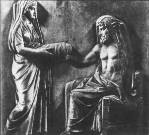 Рея вручает Крону камень, завернутый в пеленки.
