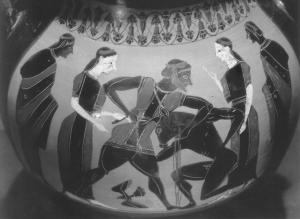 Битва Тесея с Минотавром. Греческая амфора VI в. до н.э..