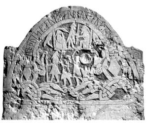 Деталь надгробного камня викингов.