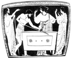 Акрисий заключает Данаю с Персеем в ящик.