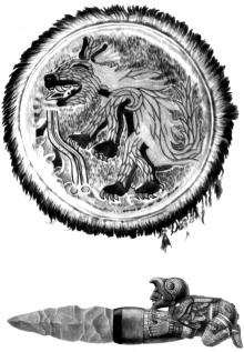 Парадный щит из перьев. Под ним кремниевый нож для жертвоприношений с рукоятью мозаичной работы.
