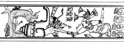 Герой-близнец, убивающий одного из владык Шибальбы - бога-улитку.