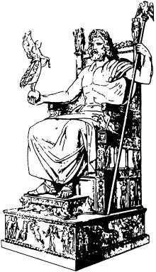 Статуя бога Зевса из золота