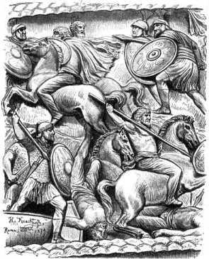 Германский всадник в битве с римскими легионерами