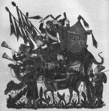 Знаменосцы, барабанщики и трубачи арабского войска
