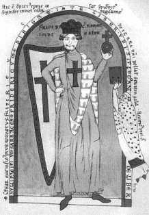 Фридрих Барбаросса, изображенный в одеянии крестоносца