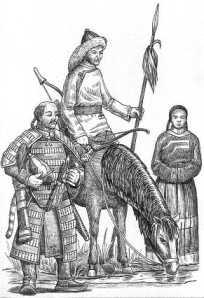 Монглолы: тяжеловооруженный всадник XIIв., конный лучник XII-XIII вв. и простолюдинка