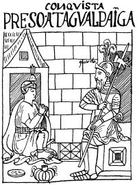 Инка Атауальпа в плену у испанцев.