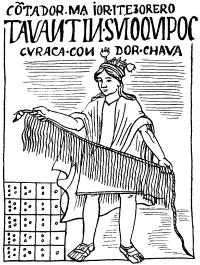 Индеец со шнуром кипу, с помощью которого передавали разную информацию.