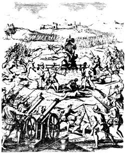 Пленение Атауальпы. Рисунок художника XVII в