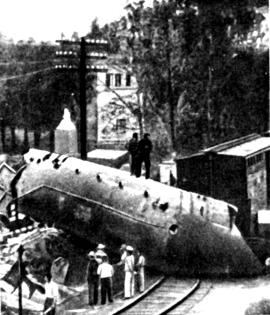 Бронепоезд, уничтоженный повстанцами на подступах кг. Санта-Клара. 31 декабря 1958 г.