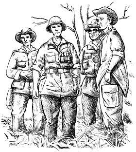 Группа офицеров 1-го парашютного батальона французского Иностранного легиона в районе Дьен-Бьен-Фу. Весна 1945г.